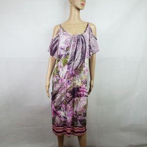 Mlle Gabrielle Purple White Cold Shoulder Dress 2X